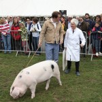 Food writer, Tom Parker Bowles with his pig and mentor, Anne Nicholls