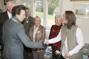 HRH meeting members of the committee and shaking hands with Helen Lightfoot flanked by Viki Mills, Judith Sims and Guy Kiddy
