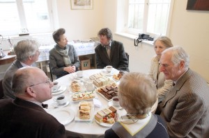 HRH talking to Jonathan Crump with around the table (clockwise) Lady Elwes, Sir Henry Elwes, Suzanne Moss, Harold Moss & Andrew Robinson